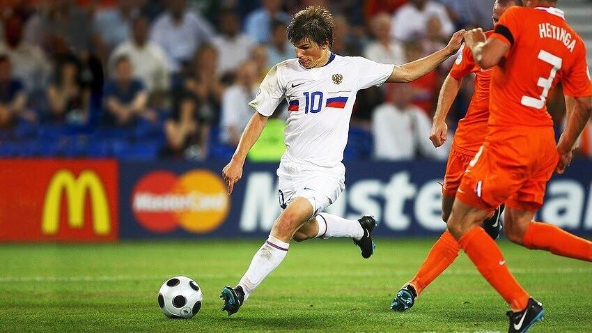 Андрей Аршавин забивает голландцам на чемпионате Европы-2008