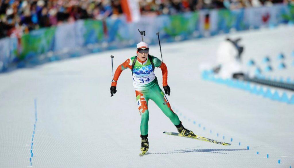 Дарья Домрачева на финише индивидуальной гонки на Олимпиаде-2010