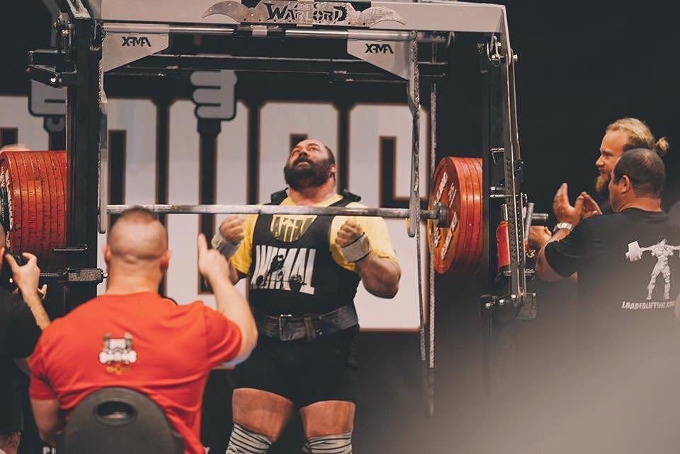 Андрей Маланичев после установления мирового рекорда в приседаниях - 485 кг (2016)