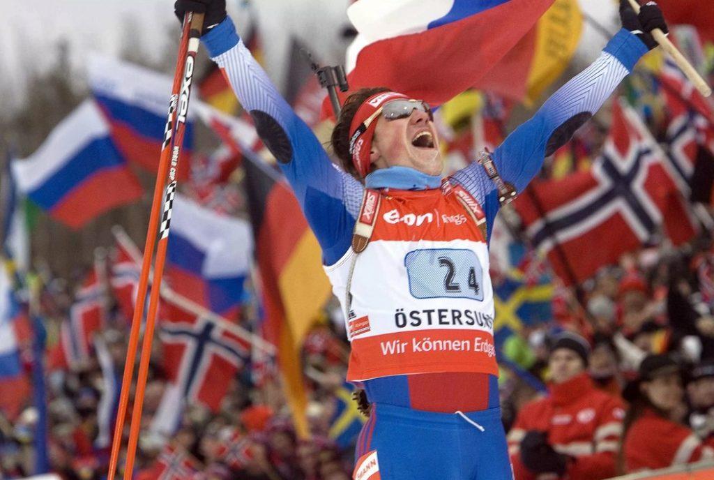 Максим Чудов на финише золотой эстафеты на чемпионате мира-2008