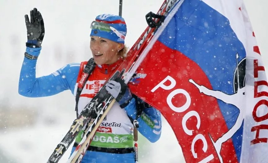 Ольга Зайцева после победы на этапе Кубка мира
